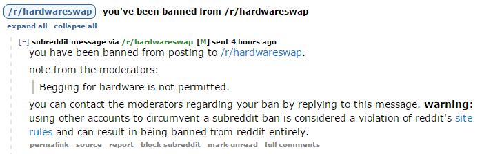/r/HardwareSwap Ban Message