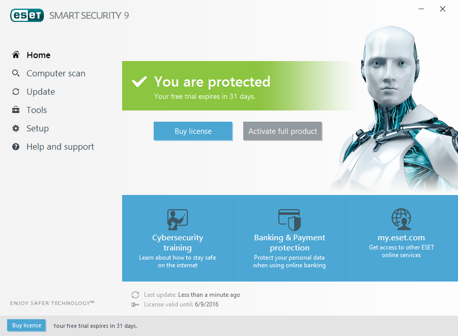 ESET Smart Security 9 Home Screen