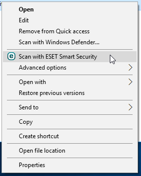 Context menu: Scan with ESET Smart Security