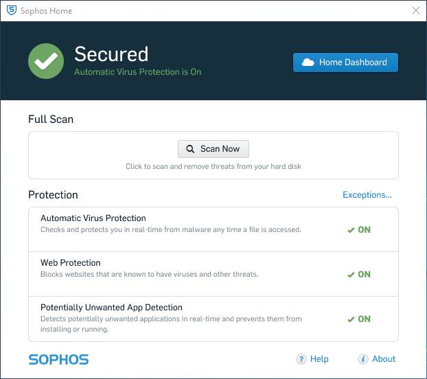 Sophos Home Client UI